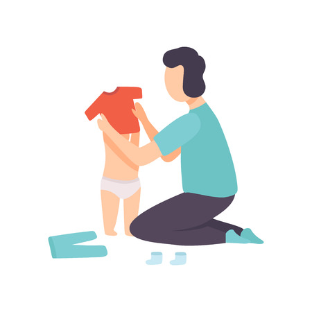 Father Dressing His Toddler Baby, Parent Taking Care of His Child Vector Illustration on White Background.