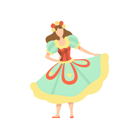Happy Girl in Colorful Dress at Traditional Brazil June Festival, Festa Junina Vector Illustration on White Background.