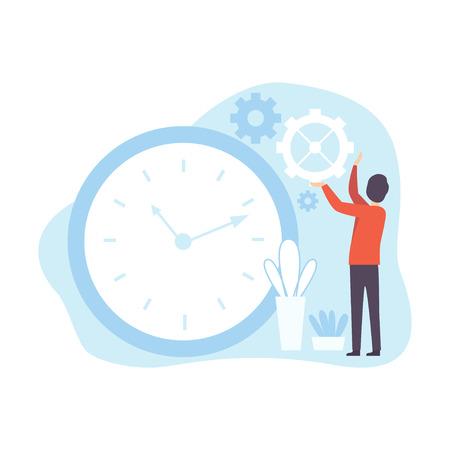 Man Regulating Clockwork, Businessman Planning, Controlling Working Time, Business Concept of Time Management Vector Illustration on White Background.