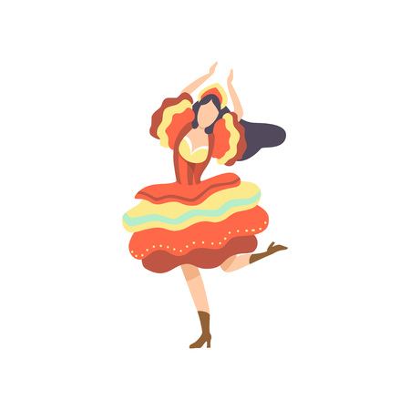 Happy Girl in Colorful Dress Dancing at Folklore Party, Traditional Brazil June Festival, Festa Junina Vector Illustration on White Background.