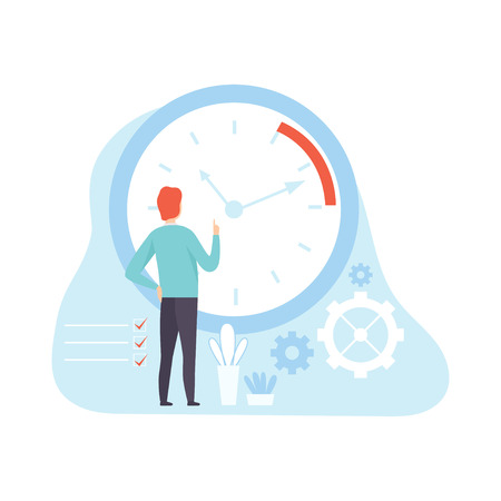 Businessman Planning and Controlling Working Time, Concept of Time Management Vector Illustration on White Background.