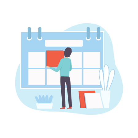 Office Worker Make Schedule, Businessman Planning and Controlling Working Time, Business Concept of Time Management Vector Illustration on White Background.