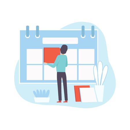 L'employé de bureau fait l'horaire, l'homme d'affaires planifie et contrôle le temps de travail, le concept d'entreprise de gestion du temps Vector Illustration sur fond blanc.