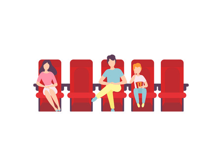 People Sitting in Cinema Theatre and Watching Movie Vector Illustration on White Background. Çizim
