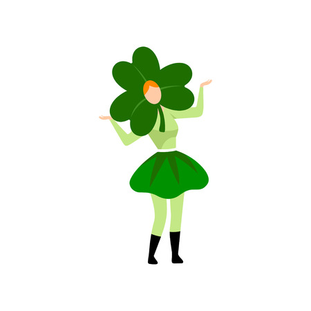 Girl in Green Irish Costume and Clover Shaped Headdress Celebrating Saint Patrick Day Vector Illustration