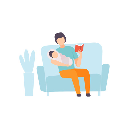 Father Reading Bedtime Story to His Baby, Parent Taking Care of His Child Vector Illustration on White Background. Banque d'images - 124143417