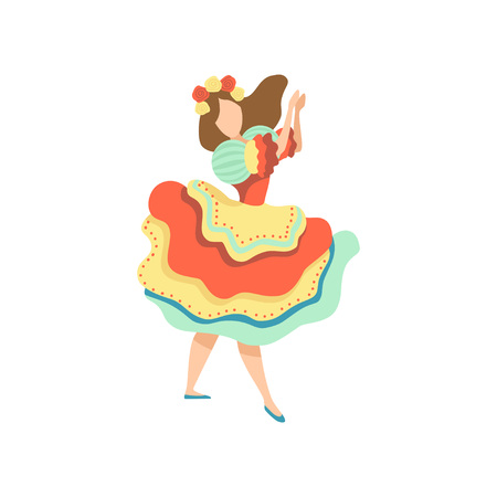 Girl in Colorful Dress Dancing at Folklore Party, Traditional Brazil June Festival, Festa Junina Vector Illustration