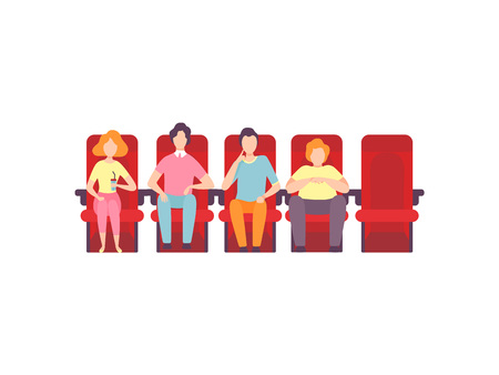 People Sitting in Cinema Theatre and Watching Movie, Young Men and Woman Looking at Projection Screen in Cinema Hall Vector Illustration on White Background.