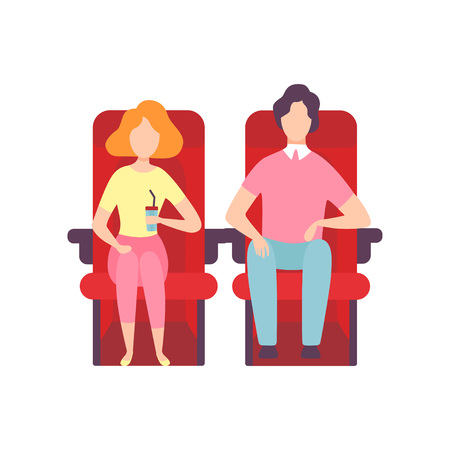 Couple Sitting in Cinema Theatre and Watching Movie, Young Man and Woman Looking at Projection Screen in Cinema Hall, Front View Vector Illustration