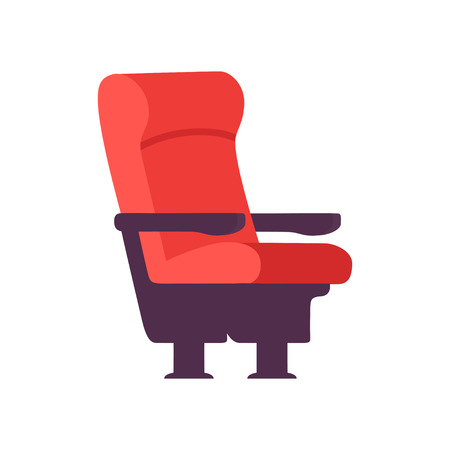 Empty Red Comfortable Chair, Cinema Movie Theater Seat Vector Illustration on White Background.