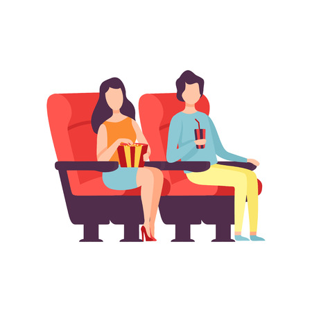 Couple Sitting in Cinema Theatre and Watching Movie, Young Man and Woman Eating Popcorn and Drinking Soda Drink in Cinema Hall Vector Illustration White Background..