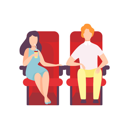 Couple Sitting in Cinema Theatre and Watching Movie, Young Woman Drinking Soda Drink Vector Illustration