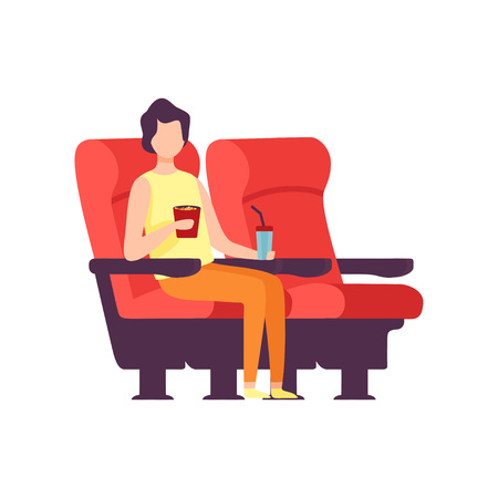 Young Man Sitting in Cinema Theatre and Watching Movie, Guy Eating Popcorn and Drinking Soda Drink in Cinema Hall Vector Illustration White Background..