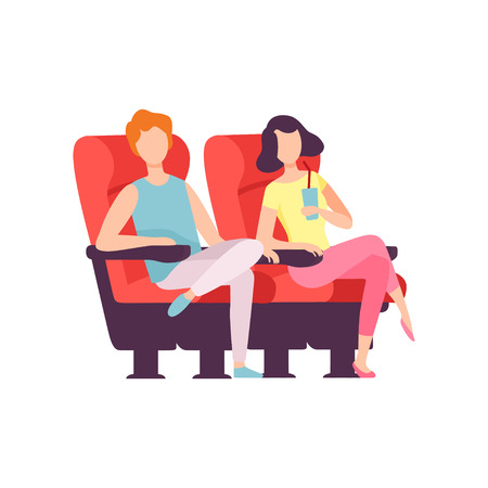Couple Sitting in Cinema Theatre and Watching Movie, Young Man and Woman Looking at Projection Screen in Cinema Hall Vector Illustration on White Background.. Illustration
