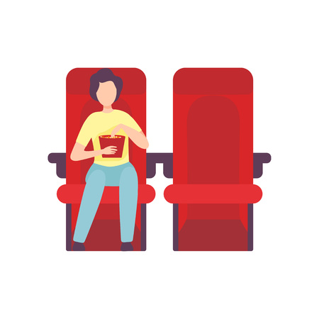Young Man Sitting in Cinema Theatre with Popcorn and Watching Movie, Guy Looking at Projection Screen in Cinema Hall Vector Illustration on White Background. Illustration