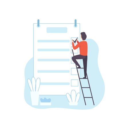 Man Climbing Ladder Filling To Do List Planner, Businessman Planning, Organizing, Controlling Working Time, Business Concept of Time Management Vector Illustration on White Background.