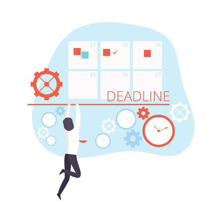 Office Worker Having Problem Reaching Deadline, Time Management Business Concept Vector Illustration on White Background.