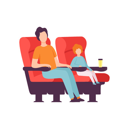 Father and His Son Sitting in Cinema Theatre and Watching Movie Vector Illustration on White Background.