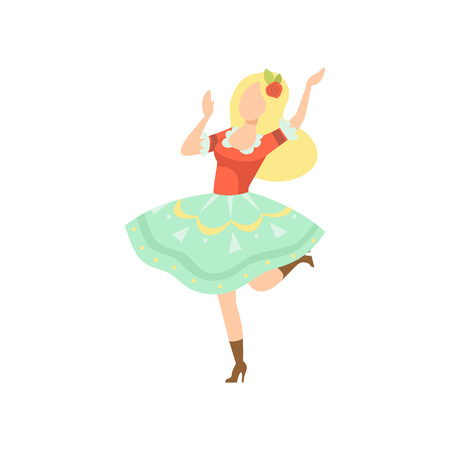 Happy Girl in Traditional Dress Dancing at Folklore Party, Brazil June Festival, Festa Junina Vector Illustration on White Background.