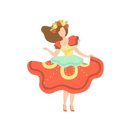 Girl in Colorful Dress and Wreath of Flowers Dancing at Folklore Party, Traditional Brazil June Festival, Festa Junina Vector Illustration on White Background. 向量圖像