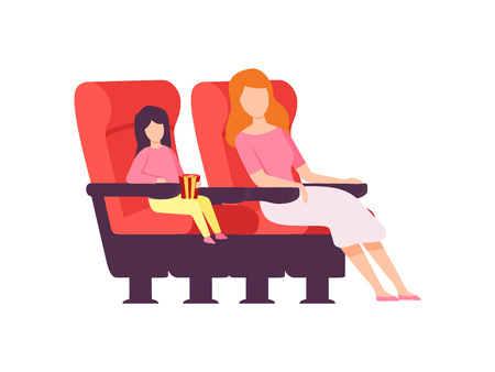Mother and Her Daughter Sitting in Cinema Theatre and Watching Movie Vector Illustration on White Background.