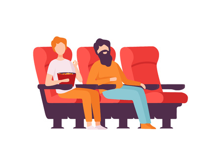 Two Men Sitting in Cinema Theatre with Popcorn and Watching Movie Vector Illustration on White Background. Illustration