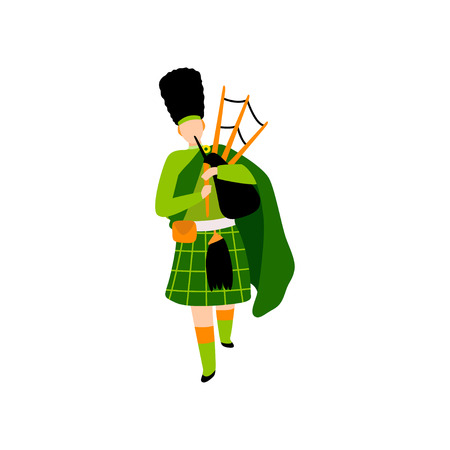 Male Bagpiper in Green Irish Costume Playing Bagpipe, Man Celebrating Saint Patrick Day Vector Illustration on White Background.