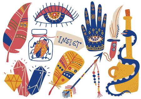 Boho Style Symbols Set, Feather, Palm with Eye, , Eye, Arrow, Dagger, Snake Vector Illustration on White Background