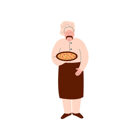 Male Chef Cook Holding Freshly Prepared Pizza on Tray, Pizza Maker Character Cooking Pizza Vector Illustration on White Background.