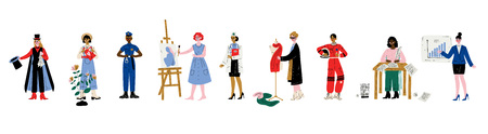Frauen verschiedener Berufe Set, Zauberer, Gärtner, Polizist, Künstler, Arzt, Modedesigner, Schriftsteller, Astronaut, Geschäftsfrau Vektor-Illustration auf weißem Hintergrund