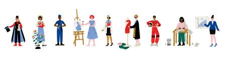 Set di donne di varie professioni, mago, giardiniere, ufficiale di polizia, artista, medico, stilista, scrittore, astronauta, donna d'affari illustrazione vettoriale su sfondo bianco