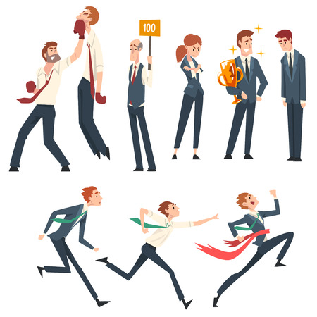 Business Competition, Business People Competing Among Themselves, Leadership and Benefits Vector Illustration on White Background.