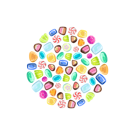 Colorful Sweetmeats in Circular Shape, Candy Shop Design Element Vector Illustration on White Background.