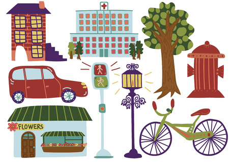 City Street Elements, Various Outdoor Urban Environment Symbols Vector Illustration on White Background. Ilustrace