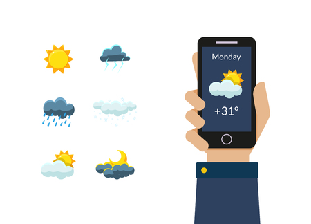 Human Hand Holding Smartphone with Weather Forecast Application, Sun, Clouds, Thunderstorm, Night and Day Design Elements Vector Illustration on White Background.
