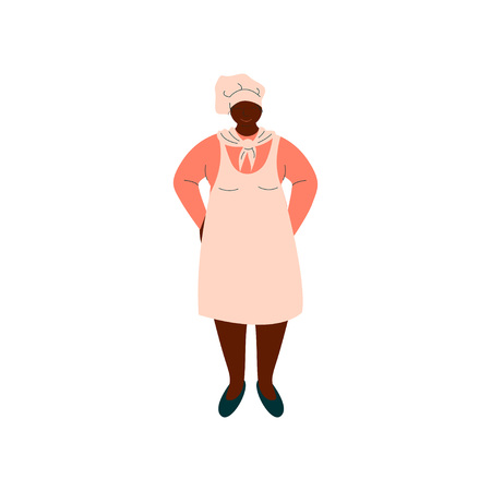 African American Woman Cook, Professional Kitchener Character in Uniform Standing Vector Illustration on White Background.