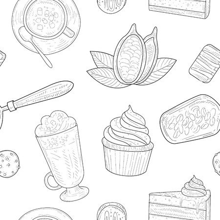 Cocoa Products Seamless Pattern, Chocolate Desserts Monochrome Hand Drawn Vector Illustration, Background