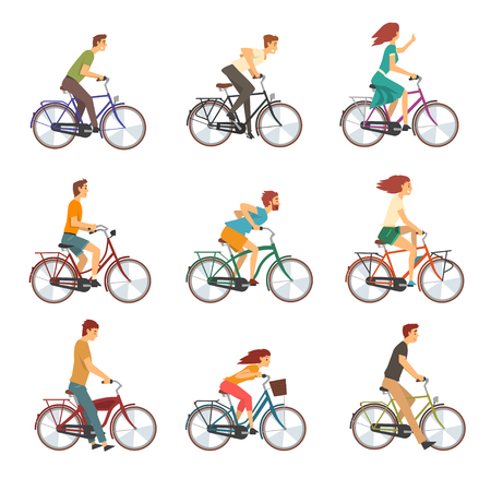 People Riding Bicycles Set, Men and Women on Bikes Vector Illustration on White Background.