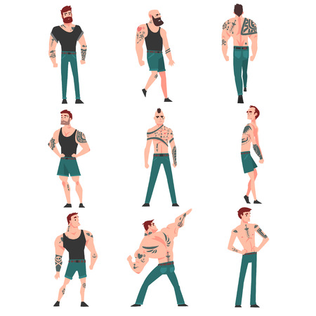 Cpllection of Men with Lot of Tattoos Vector Illustration on White Background. Foto de archivo - 124143499