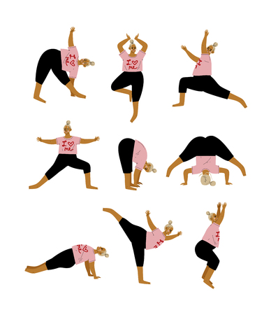 Plus Size Curvy Woman in Yoga Positions Set, Plump Girl Practicing Yoga, Sport and Healthy Lifestyle Vector Illustration on White Background. 向量圖像