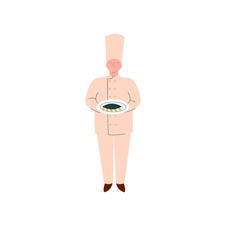 Male Chef Cook Holding Freshly Prepared Fish on Plate, Professional Kitchener Character in Uniform Vector Illustration on White Background.