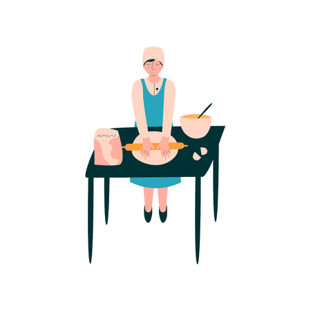 Female Cook Rolling Dough on Table, Professional Baker Character in Uniform Cooking on Kitchen Vector Illustration on White Background.
