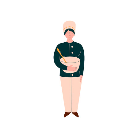 Female Cook Cooking in Restaurant Kitchen, Professional Kitchener Character in Uniform Standing with Bowl Vector Illustration on White Background. Illustration