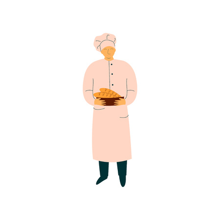 Male Chef Holding Freshly Baked French Baguettes, Professional Baker Character in Uniform Vector Illustration on White Background.