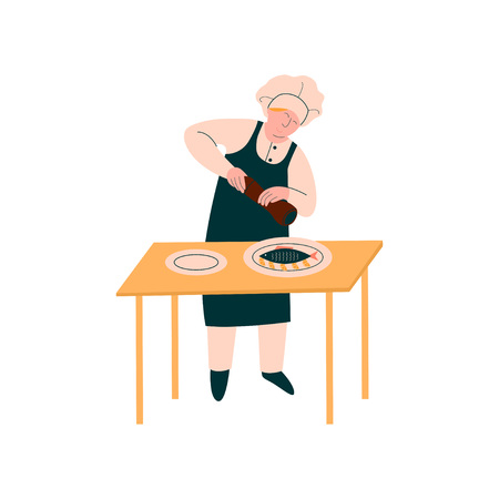 Female Cook Preparing and Garnishing Dish on Table, Professional Kitchener Character in Uniform Cooking on Kitchen Vector Illustration on White Background.