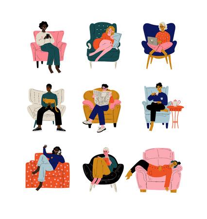 Personas sentadas en casa en un cómodo sillón, hombres y mujeres descansando, bebiendo té o café, trabajando en la computadora portátil, leyendo, hablando por teléfono, ilustración vectorial sobre fondo blanco.
