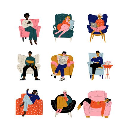 People Sitting at Home in Comfortable Armchair Set, Men and Women Resting, Drinking Tea or Coffee, Working on Laptop, Reading, Talking on Phone Vector Illustration on White Background.