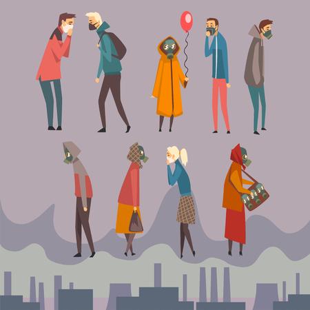 Uomini, donne e bambini infelici che indossano maschere protettive che camminano in città, persone che soffrono di inquinamento atmosferico, illustrazione vettoriale di smog industriale in stile piano Vettoriali