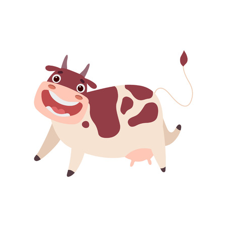 Cute Happy Smiling Cow, Funny Farm Animal Cartoon Character Vector Illustration on White Background.