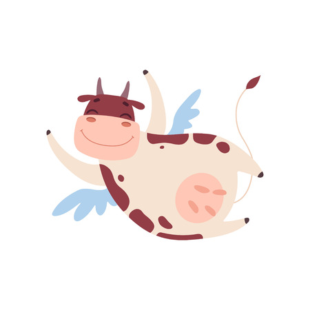 Cute Smiling Cow Flying with Wings, Funny Farm Animal Cartoon Character Vector Illustration on White Background.